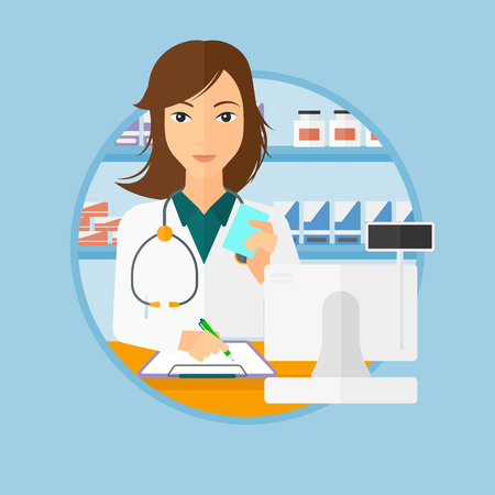 druggist: Female pharmacist writing on clipboard and holding prescription in hand. Pharmacist in medical gown standing at pharmacy counter. Vector flat design illustration in the circle isolated on background.