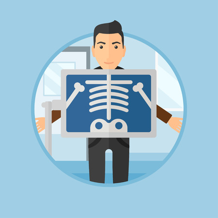 x ray image: Patient during chest x ray procedure in examination room. Young man with x ray screen showing his skeleton at doctor office. Vector flat design illustration in the circle isolated on background.