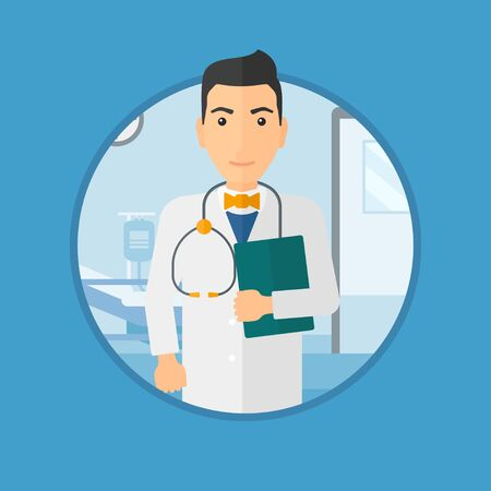 hospital gown: Friendly doctor with stethoscope and a file in medical office. Male doctor carrying folder of patient or medical information. Vector flat design illustration in the circle isolated on background.