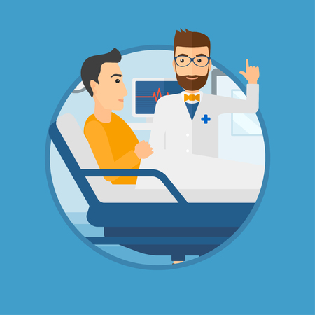 finger up: Hipster doctor visiting male patient at hospital ward. Doctor pointing finger up during consultation with patient in hospital room.Vector flat design illustration in the circle isolated on background.