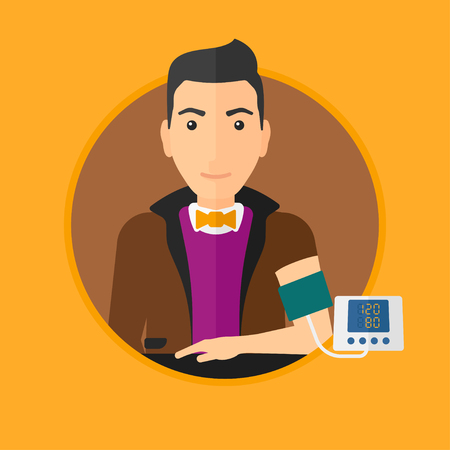 blood tests: Man checking his blood pressure with digital blood pressure meter. Man taking care of his health and measuring blood pressure. Vector flat design illustration in the circle isolated on background.