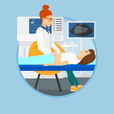 Médecin examine les organes internes d'un patient à l'échographie. Docteur travaillant sur des équipements à ultrasons modernes au cabinet médical. Vector design plat illustration dans le cercle isolé sur fond.