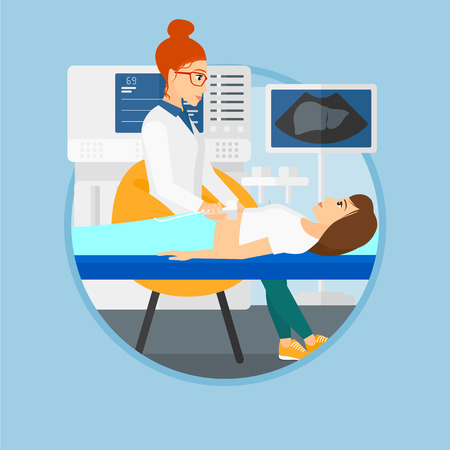 Doctor examining internal organs of a patient on the ultrasound. Doctor working on modern ultrasound equipment at medical office. Vector flat design illustration in the circle isolated on background. Illustration