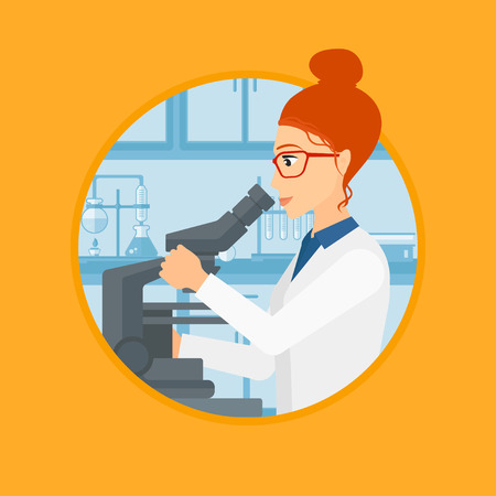 Female laboratory assistant working with microscope at the laboratory. Young scientist using a microscope in a laboratory. Vector flat design illustration in the circle isolated on background.