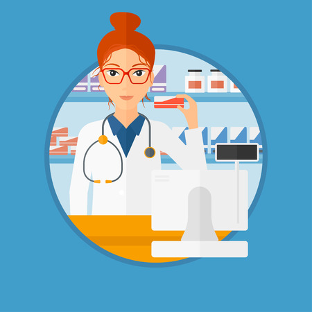 druggist: Young pharmacist standing at the counter and showing some medicine. Female pharmacist holding a box of pills in the pharmacy. Vector flat design illustration in the circle isolated on background.