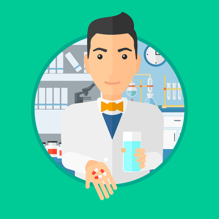 Pharmacist holding in hands a glass of water and pills. Pharmacist standing in the laboratory. Pharmacist giving pills. Vector flat design illustration in the circle isolated on background.