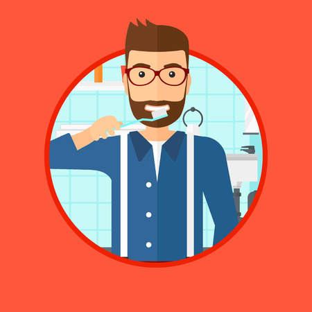 bathroom cartoon: A hipster man with the beard brushing his teeth with a toothbrush in bathroom. Smiling man holding toothbrush. Vector flat design illustration in the circle isolated on background. Illustration