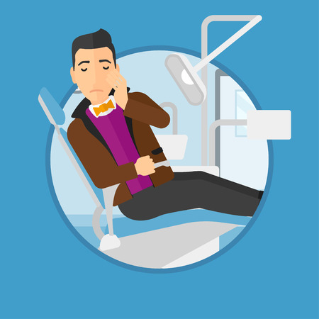 tooth pain: Young patient sitting at the chair at the dental office. Sad man suffering from tooth pain. Man having a toothache. Vector flat design illustration in the circle isolated on background.