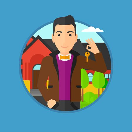 house key: Young male real estate agent holding key. Man with keys standing in front of the house. Happy new owner of a house. Vector flat design illustration in the circle isolated on background. Illustration