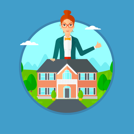 estate agent: Woman standing behind the house and showing thumb up. Female real estate agent offering the house. Young woman giving thumb up. Vector flat design illustration in the circle isolated on background. Illustration