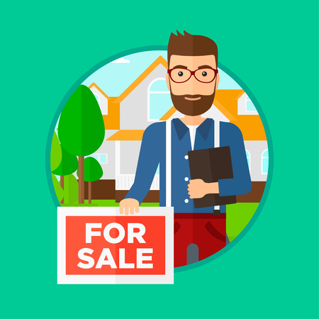 broker: Real estate agent offering the house. Male broker with placard for sale and documents in hands standing in front of the house. Vector flat design illustration in the circle isolated on background.