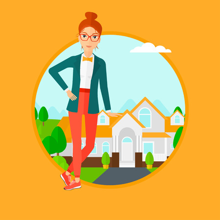 estate agent: Female real estate agent standing near the house. Real estate agent leaning on the house. Real estate agent offering house. Vector flat design illustration in the circle isolated on background. Illustration