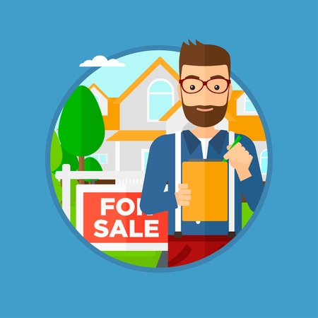 signing: Hipster real estate agent with the beard signing contract. Real estate agent standing in front of the house with placard for sale. Vector flat design illustration in the circle isolated on background.