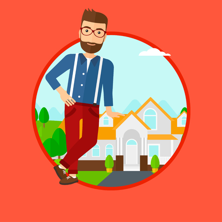 estate agent: Hipster real estate agent standing near the house. Real estate agent leaning on the house. Real estate agent offering house. Vector flat design illustration in the circle isolated on background. Illustration