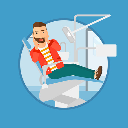 afraid man: Frightened hipster patient with the beard at dentist office. Scared young man in dental clinic. Afraid man sitting in dental chair.Vector flat design illustration in the circle isolated on background.