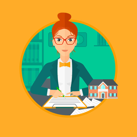 signing: Female real estate agent signing a contract. Real estate agent sitting at workplace in office with a house model on the table. Vector flat design illustration in the circle isolated on background.