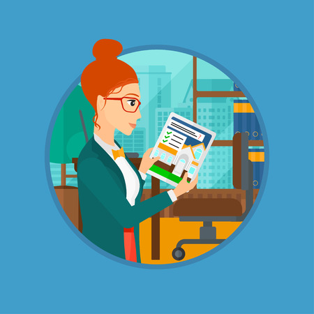 looking at computer screen: Woman looking at house on a digital tablet screen. Young woman standing in office and looking for house on tablet computer. Vector flat design illustration in the circle isolated on background.