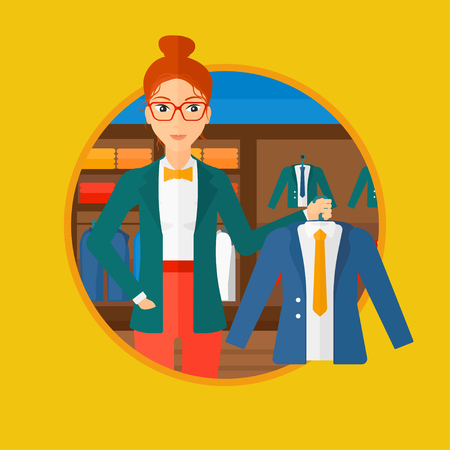 shop assistant: Woman holding hanger with suit jacket and shirt. Woman choosing suit jacket at clothing store. Shop assistant offering jacket. Vector flat design illustration in the circle isolated on background.