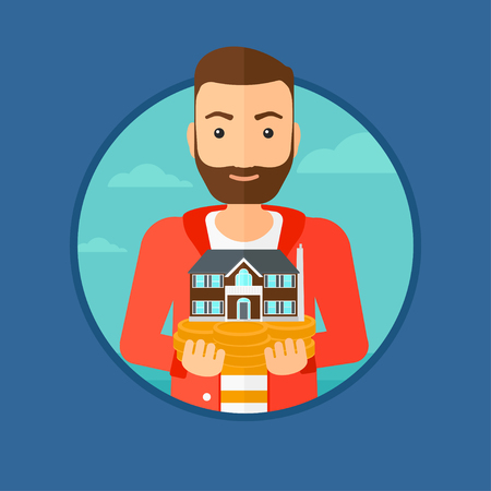 estate agent: A hipster man with the beard holding house model in hands on the background of sky. Real estate agent with house model. Vector flat design illustration in the circle isolated on background. Illustration