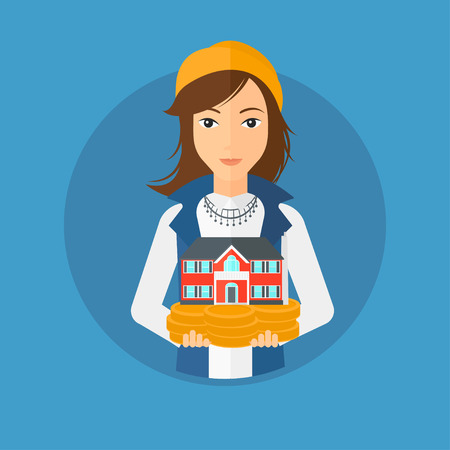 hands holding house: Young woman holding house model in hands on the background of sky. Real estate agent with house model in hands. Vector flat design illustration in the circle isolated on background.