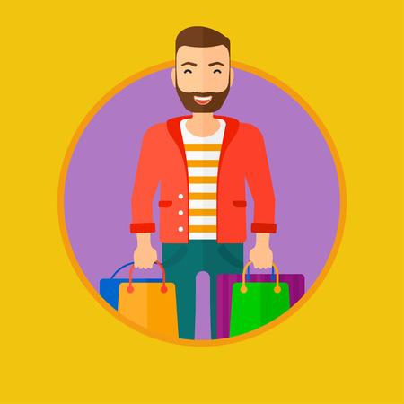 consumer goods: A hipster man with the beard holding shopping bags. Happy young man carrying shopping bags. Man with a lot of shopping bags. Vector flat design illustration in the circle isolated on background.