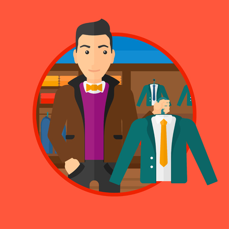 suit jacket: Man holding hanger with suit jacket and shirt. Man choosing suit jacket at clothing store. Shop assistant offering suit jacket. Vector flat design illustration in the circle isolated on background.