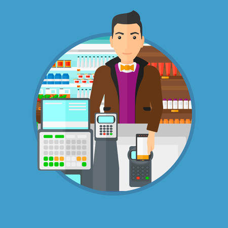 supermarket checkout: Man paying wireless with his smartphone at the supermarket checkout . Male customer making payment for purchase with smartphone. Vector flat design illustration in the circle isolated on background.