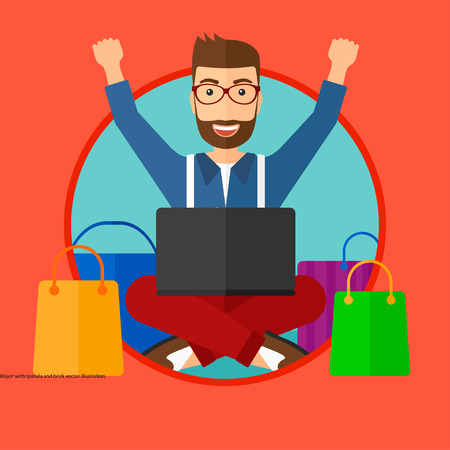 Man with hands up using laptop for shopping online. Customer sitting with shopping bags around him. Man doing online shopping. Vector flat design illustration in the circle isolated on background.