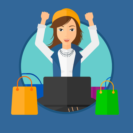 consumer goods: Woman with hands up using laptop for shopping online. Customer sitting with shopping bags around him. Woman doing online shopping. Vector flat design illustration in the circle isolated on background.