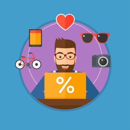 A hipster man sitting in front of laptop and some images of goods around him. Man doing online shopping. Man buying on internet. Vector flat design illustration in the circle isolated on background. Illustration