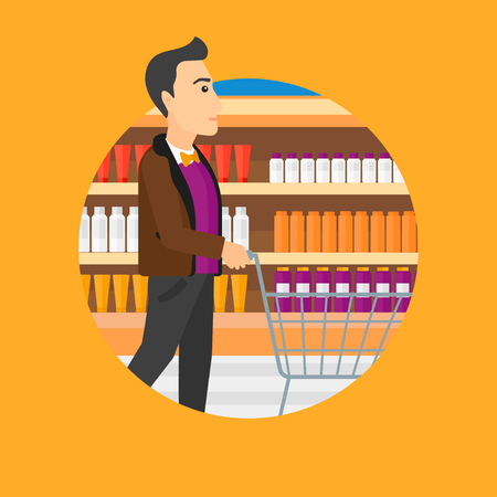 aisle: Man pushing empty supermarket cart. Customer shopping at supermarket with cart. Man walking with trolley on aisle at supermarket. Vector flat design illustration in the circle isolated on background.