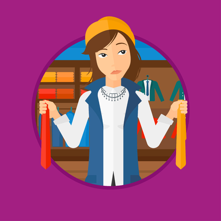 choosing clothes: Thoughtful woman holding two neckties and trying to choose the best one. Female customer choosing necktie at clothing store. Vector flat design illustration in the circle isolated on background.