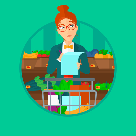 shopping list: Thoughtful woman standing at the supermarket with supermarket trolley full with products and holding a shopping list in hands. Vector flat design illustration in the circle isolated on background.