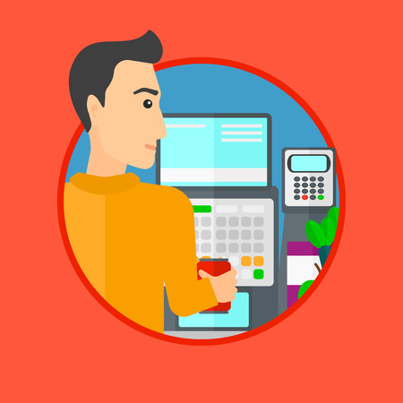 checkout: Young male cashier standing at the checkout in supermarket. Male cashier working at checkout in supermarket. Vector flat design illustration in the circle isolated on background.