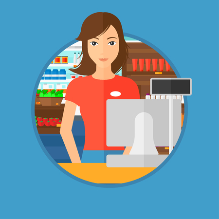checkout: Young female cashier standing at the checkout at the supermarket. Female cashier working at checkout at the supermarket. Vector flat design illustration in the circle isolated on background.