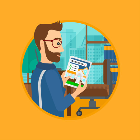 looking at computer screen: A hipster man looking at house on a digital tablet screen. Man standing in office and looking for house on tablet computer. Vector flat design illustration in the circle isolated on background.