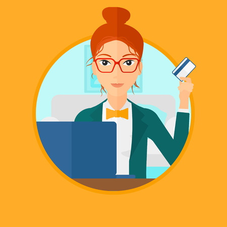woman holding card: Woman holding a credit card and using laptop for online shopping. Woman shopping online at home. Woman making online payment. Vector flat design illustration in the circle isolated on background.