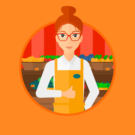 consumer goods: Female supermarket worker giving thumb up while standing on the background of shelves with vegetables and fruits in supermarket. Vector flat design illustration in the circle isolated on background.
