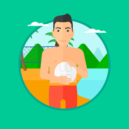 shore: Young sportsman holding volleyball ball in hands. Sportive beach volleyball player standing at the shore with voleyball net. Vector flat design illustration in the circle isolated on background. Illustration