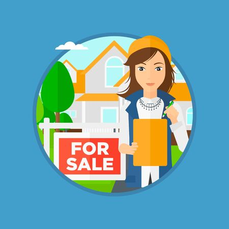signing agent: Female real estate agent signing a contract. Young real estate agent standing in front of the house with placard for sale. Vector flat design illustration in the circle isolated on background. Illustration