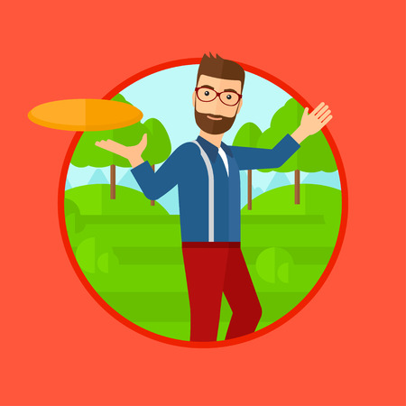 flying man: A hipster man with the beard playing flying disc in the park. Man throwing a flying disc. Sportsman catching flying disc outdoors. Vector flat design illustration in the circle isolated on background. Illustration