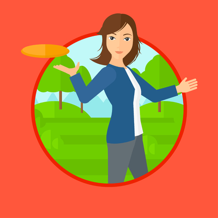 sportswoman: A sportive woman playing flying disc in the park. Young woman throwing a flying disc. Sportswoman catching flying disc outdoors. Vector flat design illustration in the circle isolated on background.