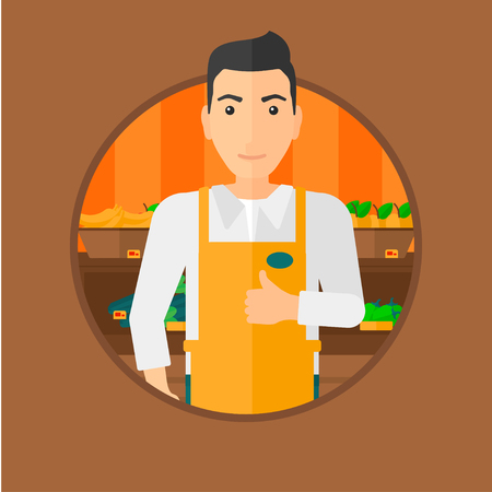 consumer goods: Male supermarket worker giving thumb up while standing on the background of shelves with vegetables and fruits in supermarket. Vector flat design illustration in the circle isolated on background.