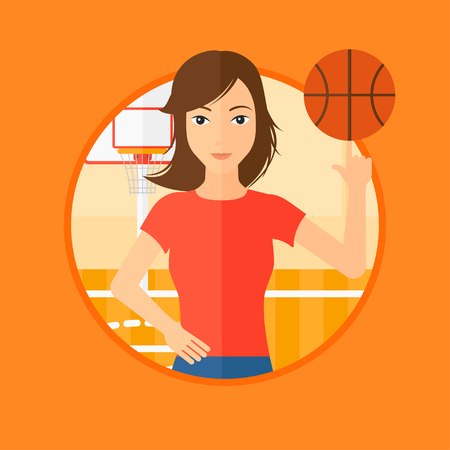 sportswoman: Professional sportswoman spinning basketball ball on her finger. Young basketball player standing on the basketball court. Vector flat design illustration in the circle isolated on background.
