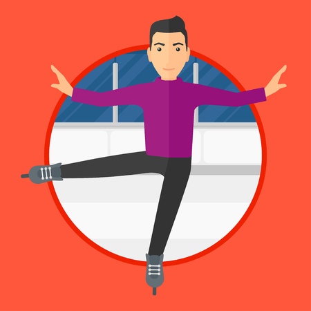 iceskating: Professional male figure skater performing on ice skating rink. Young ice skater dancing. Male figure skater on skates indoor. Vector flat design illustration in the circle isolated on background.