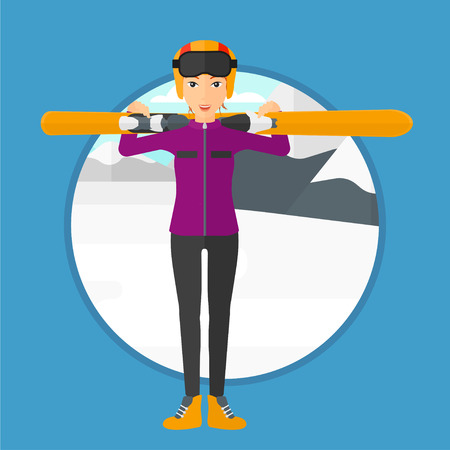 snow capped: Woman carrying skis on her shoulders on the background of snow capped mountain. Vector flat design illustration in the circle isolated on background.