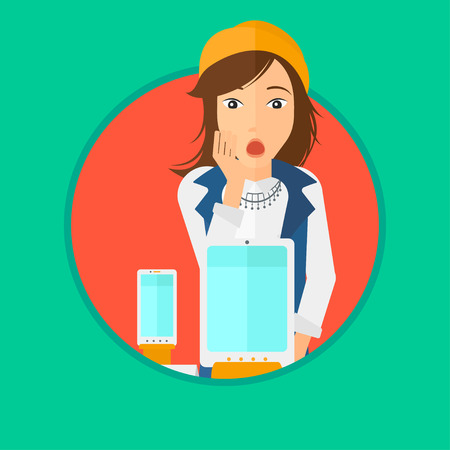 astonished: Astonished woman looking at digital tablet and smartphone through shop window. Woman with open mouth looking at tablet and phone. Vector flat design illustration in the circle isolated on background. Illustration