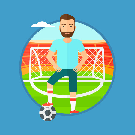 football stadium: Sportsman standing with football ball on the football stadium. Professional football player with a soccer ball on the field. Vector flat design illustration in the circle isolated on background.