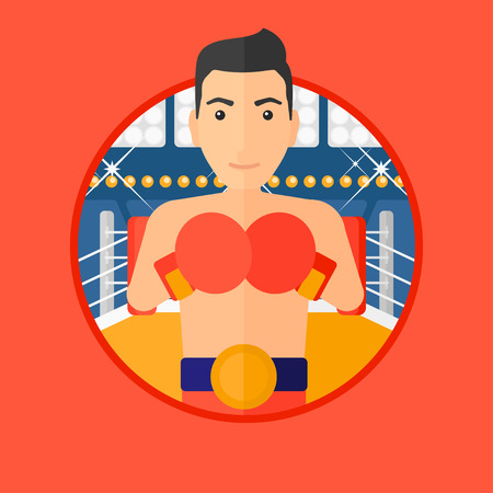 boxing gloves: Young sportsman in boxing gloves. Professional male boxer standing in the boxing ring. Vector flat design illustration in the circle isolated on background. Illustration