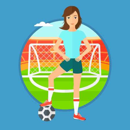 female soccer: Sportswoman standing with football ball on the football stadium. Professional football player with a soccer ball on the field. Vector flat design illustration in the circle isolated on background.